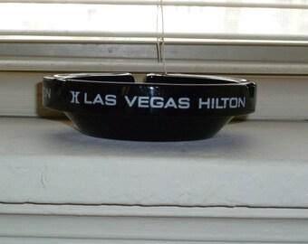 Las Vegas Ashtray, Las Vegas Hilton Ashtray, Black Glass Ashtray