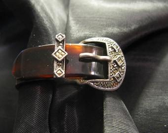Vintage Judith Jack Bracelet Sterling Silver Marcasite Tortoise Lucite Belt Buckle Bangle Art Deco Style Jewelry