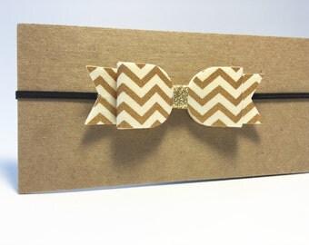 Gold chevron/ivroy felt bow headband, baby/toddler elastic headband