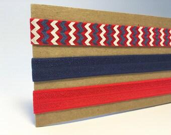 Patriotic/ red, white, and blue elastic headband set