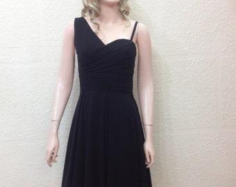 Black Bridesmaid Dress. One Shoulder Dress.