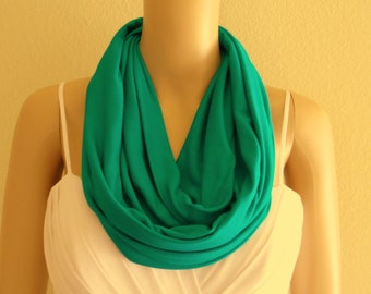 Turquoise Infinity Scarf. Turquoise Circle Scarf. Soft Cotton Spandex Loop Scarf.