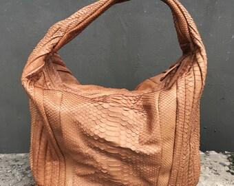 SHOULDER BAG - Basic Mocha Brown Hobo Python Leather Hobo Shoulder Bag