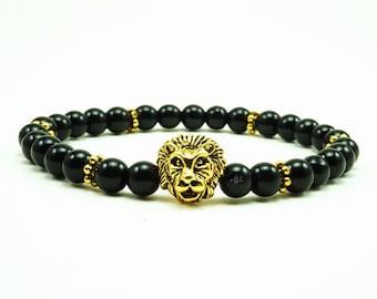 "Men's ""Cecil"" Gold Lion Onyx Beaded Bracelet"