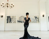 """Evening Gown - Bridesmaid Dress - Couture Black Evening Gown - Open Back Gown - """"THE LILY"""" Gown - Mermaid Style Gown by Isabella Couture"""