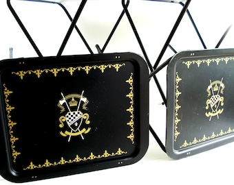 Vintage TV Trays Set of 4 Gold Ivory Black  European Shield Tin Metal Standing TV Serving Trays