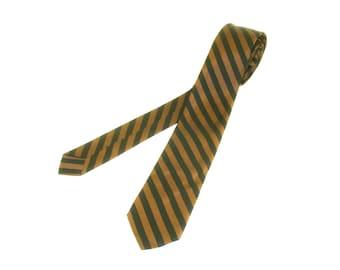 1950s-60s Striped Skinny Tie Mens Vintage Copper & Black Super Skinny Narrow Mad Men Era Mid Century Modern Necktie