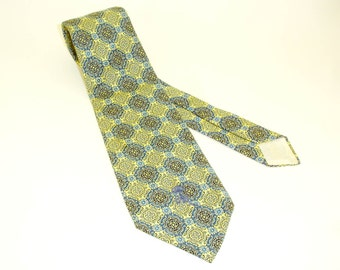 1970s COUNTESS MARA Tie Mens Vintage Wide Pastel Yellow & Blue Necktie with woven Boho designs by Countess Mara New York