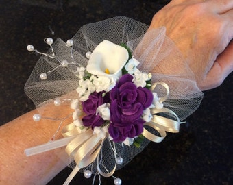 chose color tulle & rose calla lily lots of silk babysbreath wedding mothers day Easter wrist corsage red white ivory navy purple pink navy