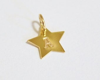 Star initial charm - 11 mm gold filled initial charm - star charm - gold filled - gold star charm