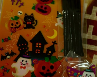 20 pcs Happy Halloween Trick Or Treat Transparent Japanese Plastic Gift / Party Bags