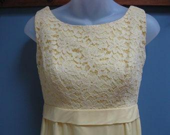 Vintage 1960's Yellow Chiffon Lace Gown Wedding Party Prom Fresh Bows and Train