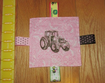"Pink John Deere Baby Infant Taggie Ribbon Crinkle Toy 5"" x 5"""