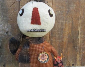 Made to Order ~Primitive Grungy Folk Art ~Stumpkin Pumpkin Doll~Trick or Treat~Hafair Team
