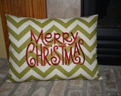 Embroidered Chevron Christmas Pillow with Merry Christmas
