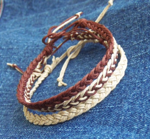 3 Braided Hemp Anklets OR 3 Bracelets  in Brown & Natural Beige Hemp -  Hippie Surfer Jewelry for Men or Women