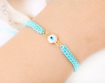 Evil eye bracelet, adjustable bracelet, summer bracelet, white turquoise, macrame bracelet, turkish jewelry, best friend birthday gift