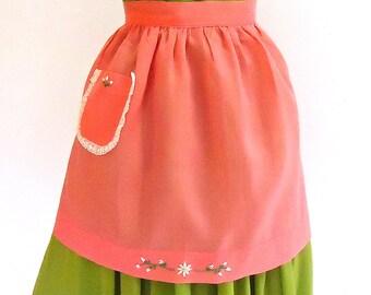 Hostess Pink Coral Sheer Organza Hand Embroidered Apron Vintage MC