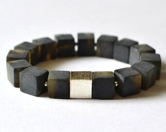 Dark Beauty Amber Bracelet Modern Dark Night Bracelet Minimalist Simple Earthy Jewelry Baltic Amber