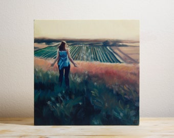 Original Oil Painting Lady on a Hill