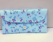 Blue Bridesmaid Clutch - Retro Style Clutch Purse - Red Blue - Bride Gift - Makeup Bag - Clutch With Button-  Gift for Her