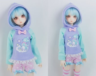 BJD Hoodie for Slim MSD Minifee or SD - Deer in the Clouds