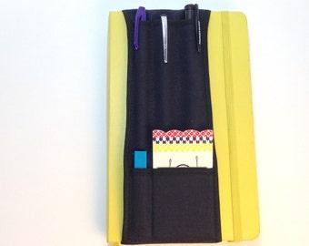 A5 Black on Black -- 5-pocket Notebook Pencil Holder Bandolier