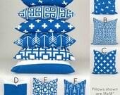 Royal Blue & White Throw Pillow Covers -ANY SIZE- Cobalt Cushion, Beach Costal Decor Mix/Match patterns, Euro Sham, Pemier Prints FREESHIP