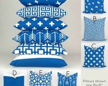 Blue & White Throw Pillow Covers -ANY SIZE- Cobalt Cushion, Beach Costal Decor Mix/Match patterns, Euro Sham, Pemier Prints FREESHIP