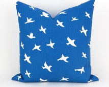 Blue White Pillow Cover -ANY SIZE- Cobalt Cushion, Blue White Pillow, Bird Cushion,  Euro Sham, Bird Silhouette Pemier Prints FREESHIP