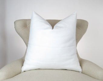Throw Pillow Cover, Decorative Cushion, Euro Sham, Accent, Plain Pillow, Solid Color -MANY SIZES- Bleached White Solid White, Premier Prints