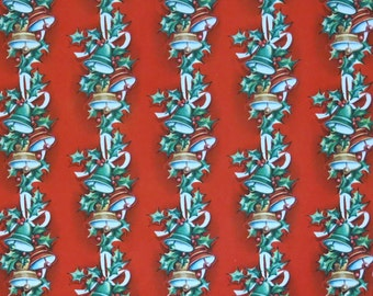 Vintage CHRISTMAS Gift Wrap - Wrapping Paper - BELLS and HOLLY - 1950s