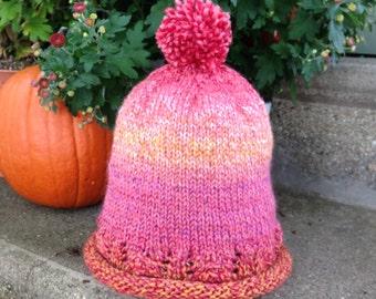 Girl's Knit Lacework Pom Pom Hat