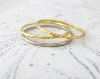 Set of 3 18ct Gold Skinny Stacking Rings - Mix and Match