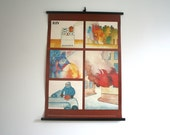 Original. Vintage. Chzec Poster - Types of Fire. School. Educational. (309)