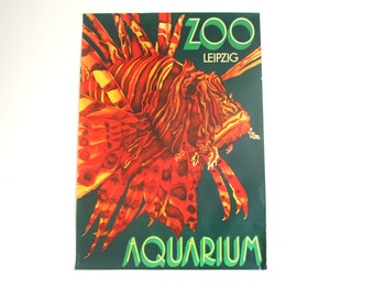 Original Zoo / Aquarium Advertising Poster- Leipzig (GDR/East Germany) 1970s- Lion fish design (P102)