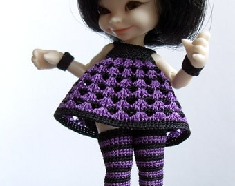 Striped realpuki set - dress with underskirt, stockings, panties, bracelets outfit - crochet clothes, knickers - choose colors