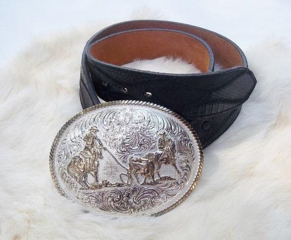 Vintage Belt And Buckle Montana Silversmiths Team Roping Belt