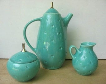 Turquoise Mid Century Coffee Pot Creamer Sugar set, 1950's Ceramic Tea Pot retro Royal Haeger