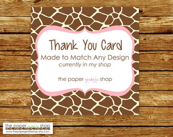 Made to Match Thank You Card | Made to Match Party Printables | Party Printables Made to Match Any Design in my Shop | Thank You Card