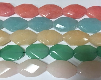 20x35mm nugget slab faceted jade beads, 11beads