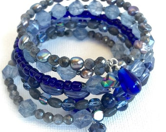 Cobalt Wrap, blue and gray multi layer cuff beaded bracelet