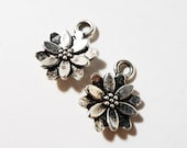 Silver Flower Charms 13x10mm Antique Tibetan Silver Metal Small Flower Pendants Floral Charm Daisy Charms Jewelry Making Craft Supplies 10pc