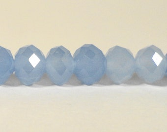 """Rondelle Crystal Beads 6x4mm (4x6mm) Opaque Matte Frosted Periwinkle Blue Chinese Crystal Glass Beads on an 8 3/4"""" Strand with 50 Beads"""