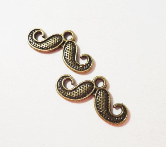 Bronze Mustache Charms 20x9mm Antique Brass Metal Moustache Charms, Mustache Pendants, DIY Jewelry Making, Craft Supplies 10pcs