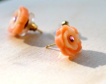 Peach Flower Studs with Swarovski Crystal Diamante Detail By MillyPops - Flowergirl, Pretty, Delicate, Gold Plated