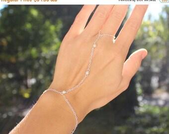 Valentines Day Gift Sale Sterling Silver Slave Bracelet with Swarovski Pearl Accents - Sterling Silver Hand Chain - 3 Stone Slave bracelet