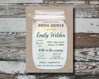 Mason Jar Wedding Shower Invitation - Custom Digital Printable