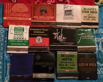 12 Vintage matchbooks 50s rare detailed