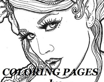 magnolia coloring page woman face adult coloring picture digital zentangle - Advanced Coloring Pages Adults